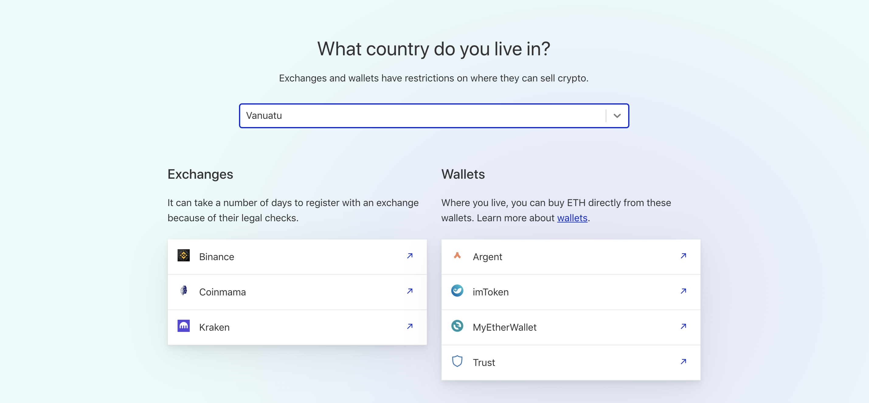 Screenshot of a country picker feature on ethereum.org/en/get-eth