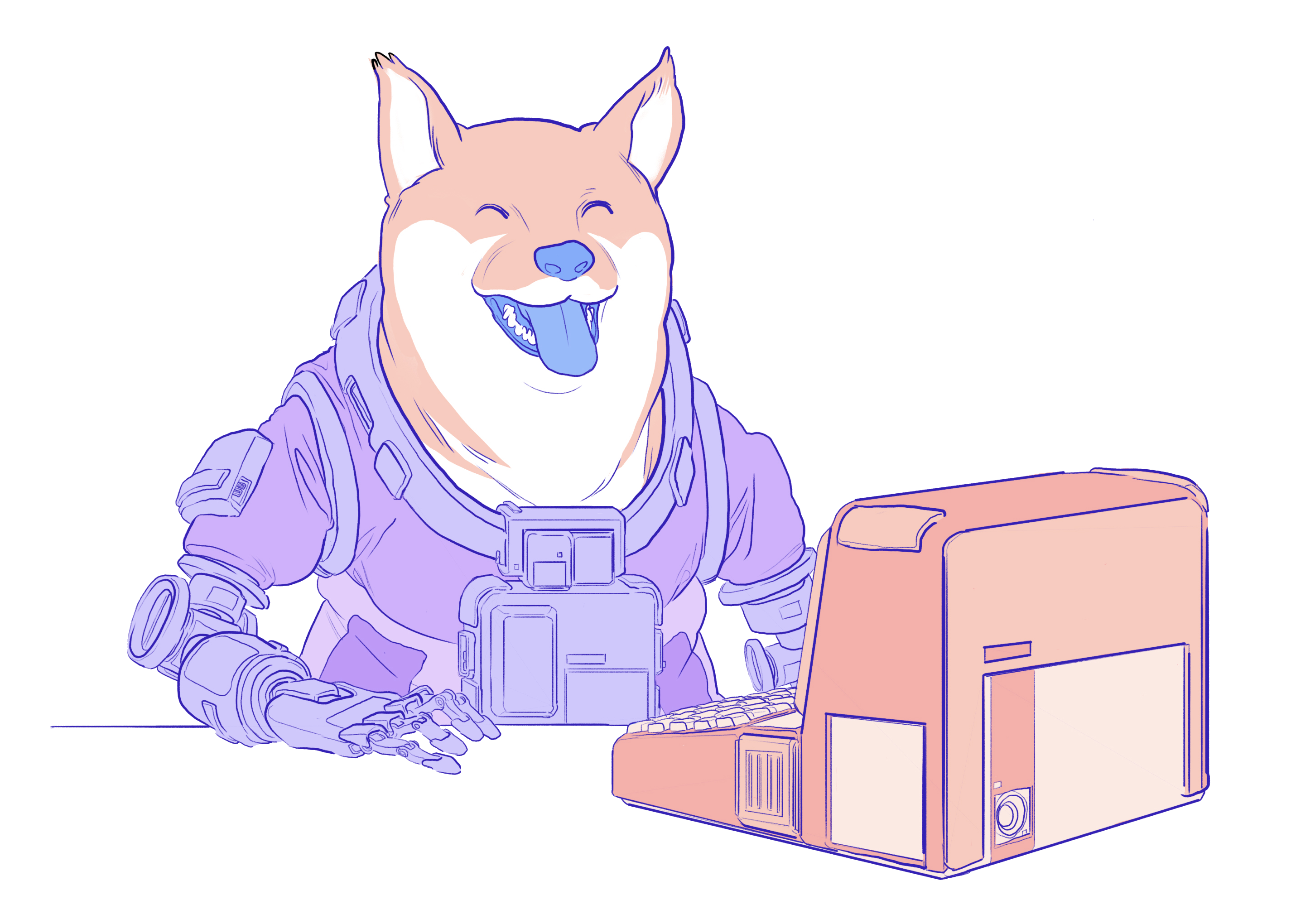 Illustration of a doge using a dapp on a computer